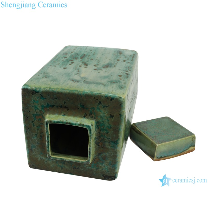 Color glaze kiln variable glaze green square porcelain pot