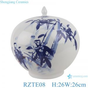 RZTE08 Hand-painted blue and white bamboo pattern watermelon shape pot