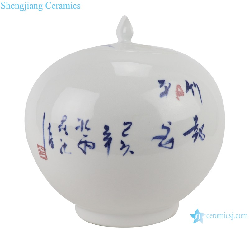 Hand-painted blue and white bamboo pattern watermelon shape pot