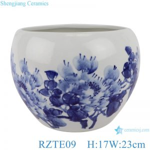 RZTE09 Hand-painted blue&white freehand brushwork peony pattern pen wash small pot
