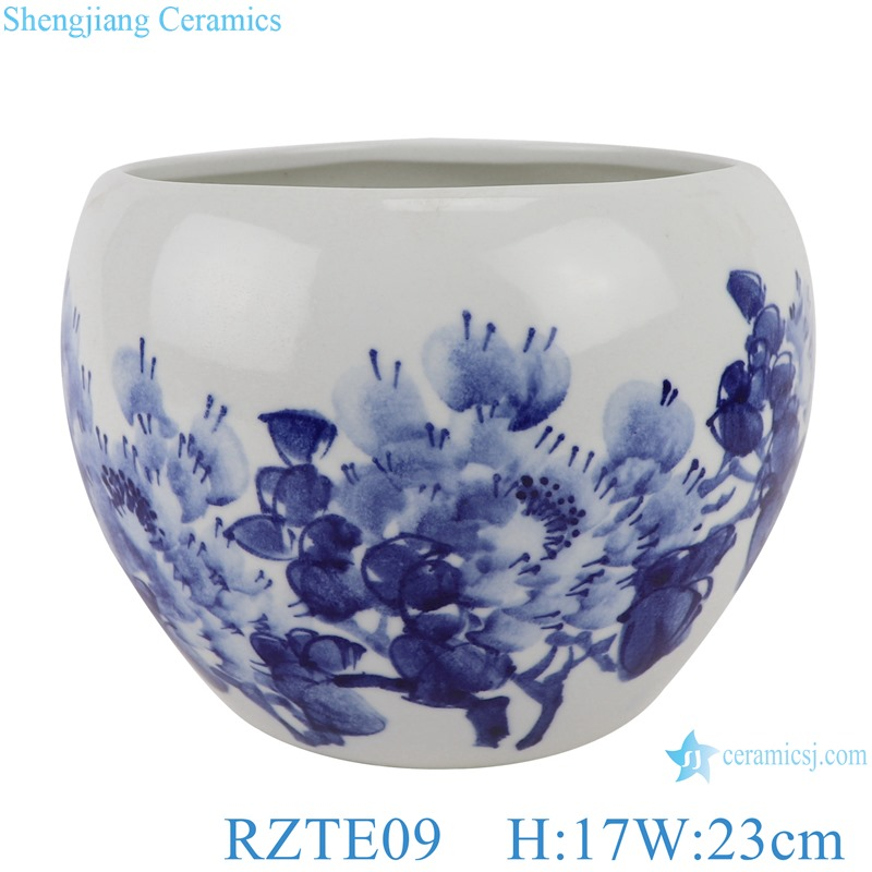 Hand-painted blue&white freehand brushwork peony pattern pen wash small pot