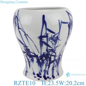 RZTE10 Hand-painted blue and white bamboo design shaped vases