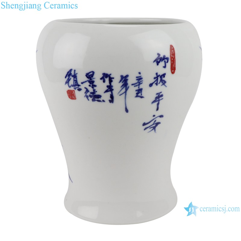 Hand-painted blue and white bamboo design shaped vases