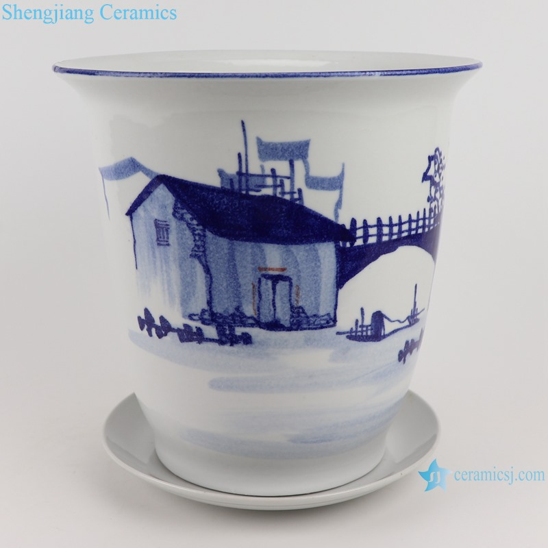 Hand-painted blue and white rural landscape design flowerpot