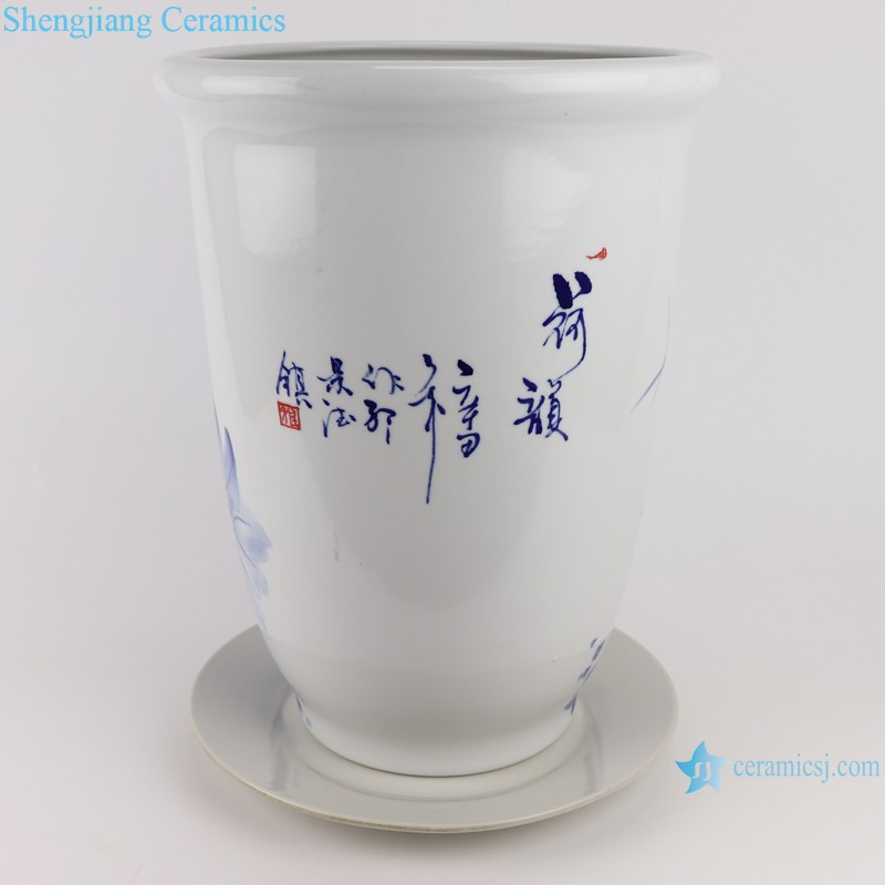 Hand-painted blue and white flower pot with lotus dragonfly pattern
