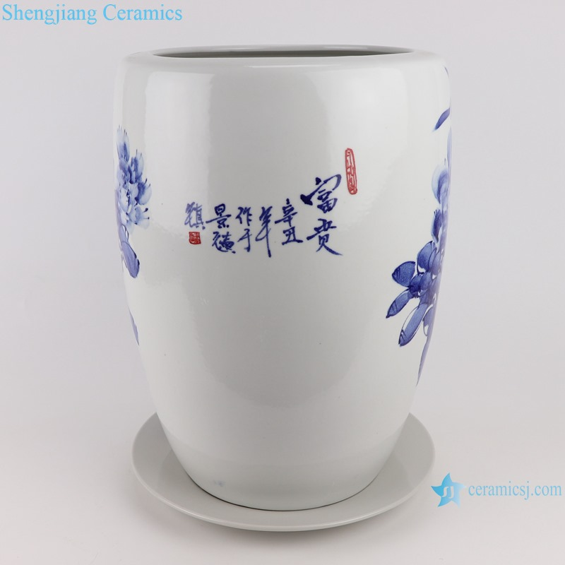RZTE13 Hand-painted blue and white flower pot with peony pattern