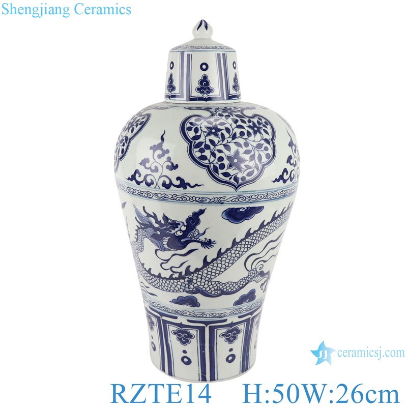 RZTE14 Blue and white plum vase with dragon design and lid
