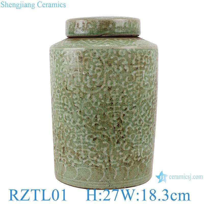 RZTL01 Classic storage Jars twinning line Color green glazed round tube ceramic pot