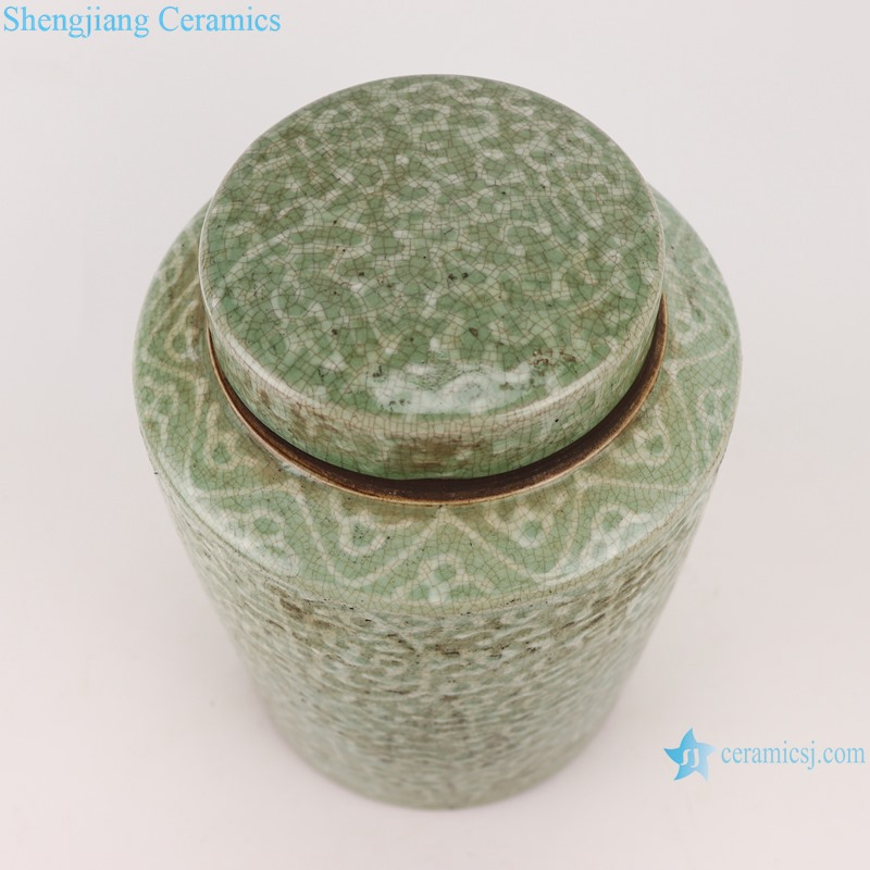 RZTL01 Classic Home storage Jars twinning line Color green glazed round tube ceramic pot Tea snack canister