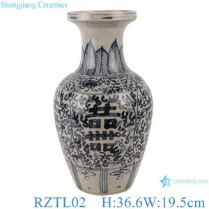 RZTL02 Blue and white porcelain vase with crackle and happy words