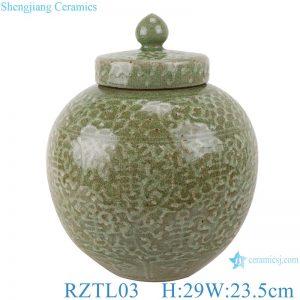 RZTL03 Color glaze crack light green carved twig pattern pot with lid