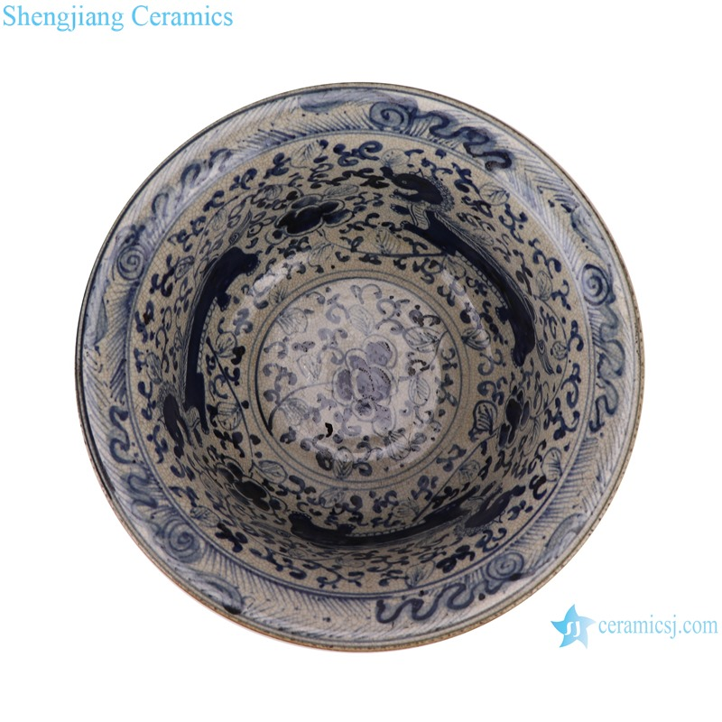 RZTL04 Blue and white bowl with cracked lion pattern