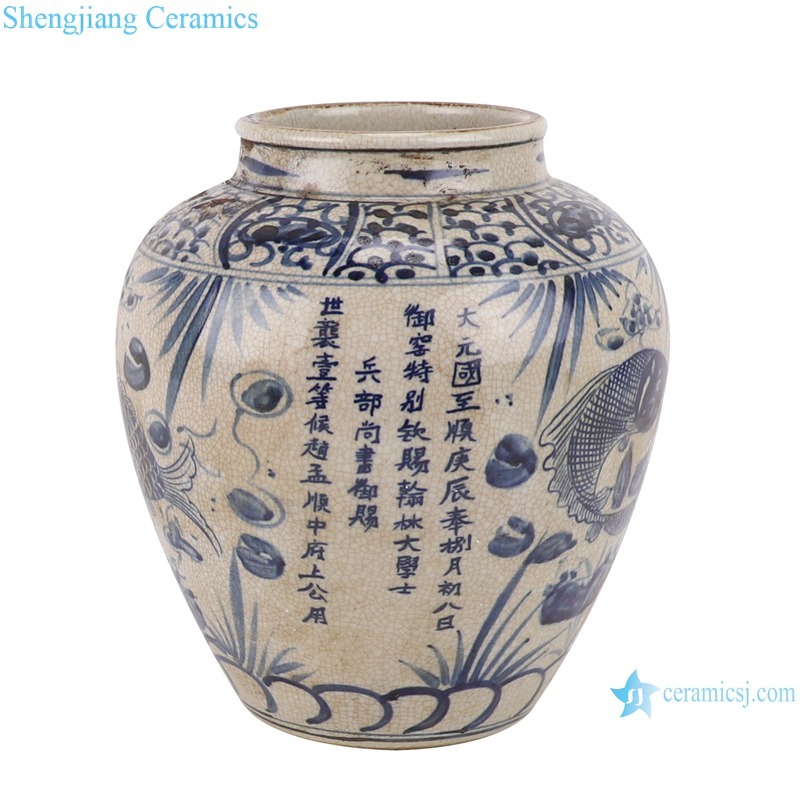 RZTL05-A Blue and white cracked fish grass design pot storage