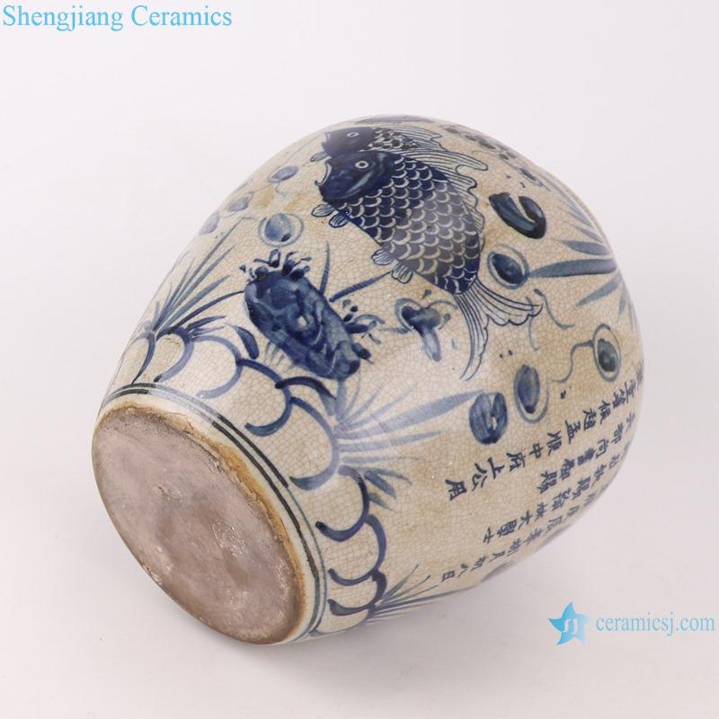 Blue and white general pot traditional handmade ceramics
