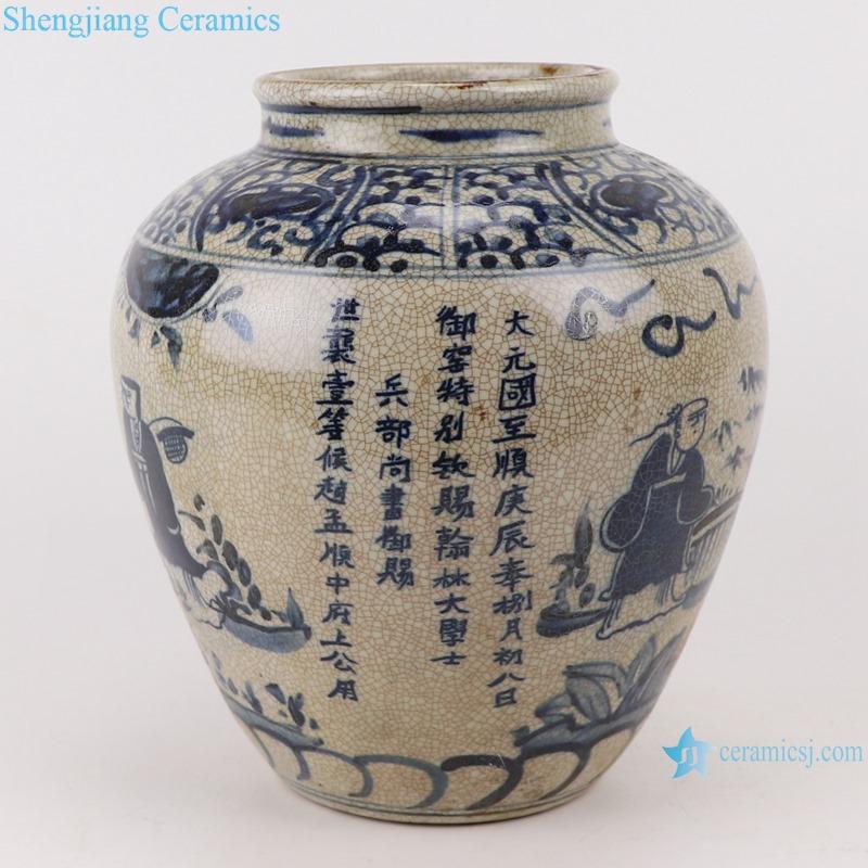 RZTL05-B Blue and white cracked figure jar storage