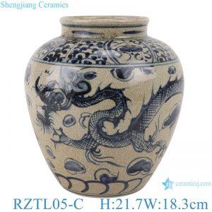 RZTL05-C Blue and white pot dragon pattern storage