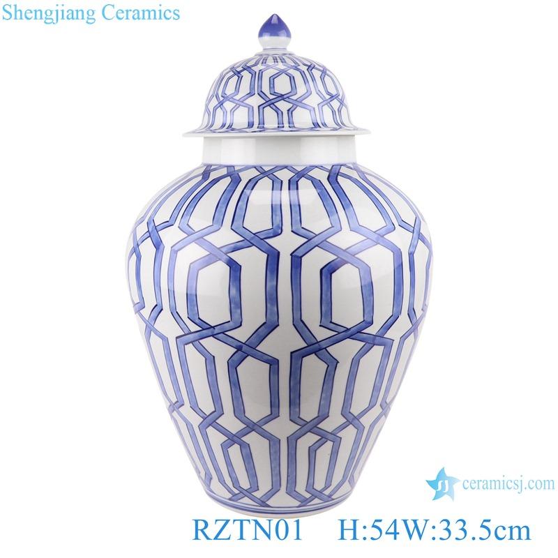 Blue and white geometric figure general pot decoration