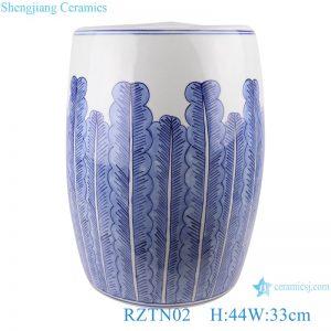 RZTN02 Blue&white plantain grain porcelain stool cool pier