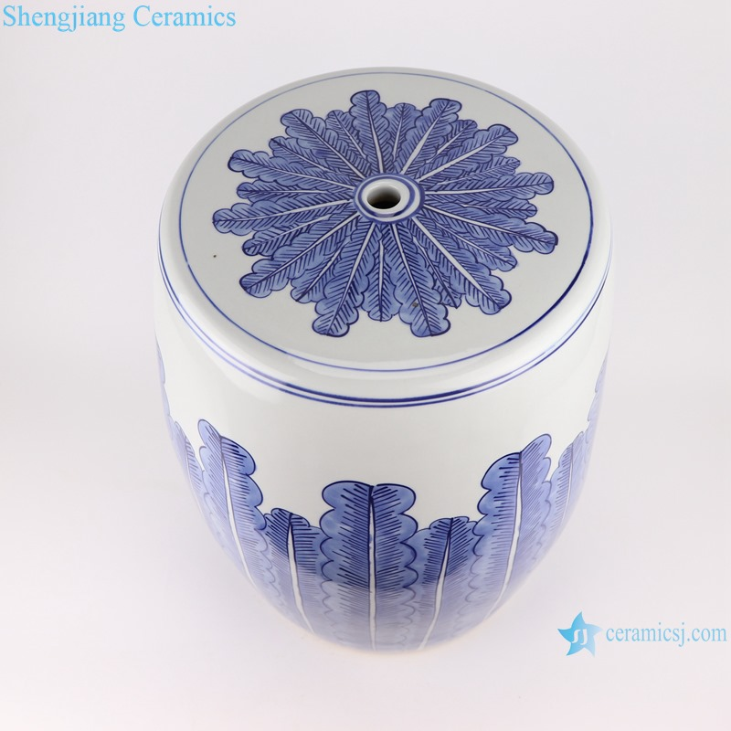 Blue&white plantain grain porcelain stool cool pier