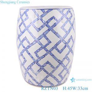 RZTN03 Blue and white Geometric pattern Ceramic Garden Drum stool Home seat