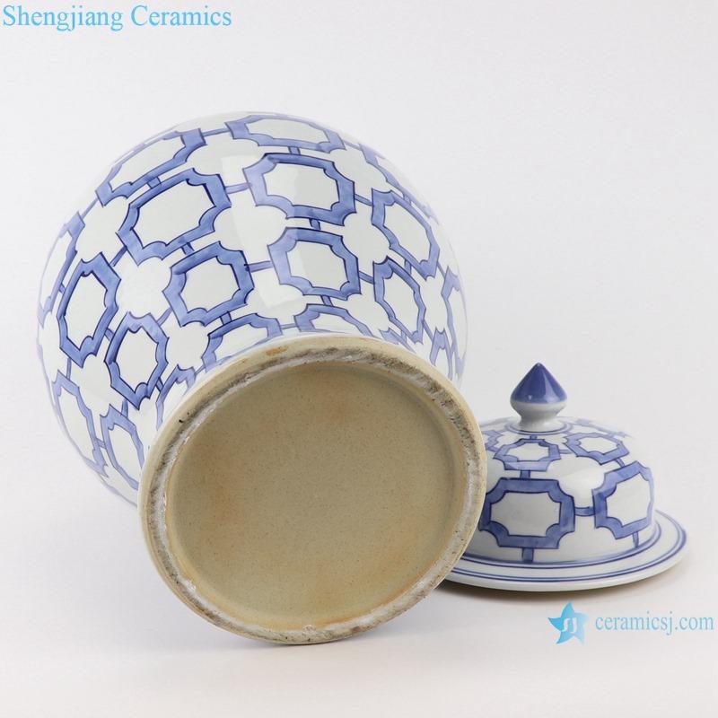 RZTN04 Blue and white Porcelain Geometric Pattern Storage Vase Ginger Jars pot