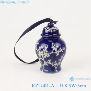 RZTo01-A Blue&white ice plum small porcelain general jar pendant