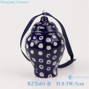 RZTo01-B Blue&white ice plum white dot small porcelain general jar pendant