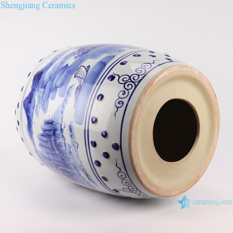 RYLL41 Ceramic Garden Stools Blue and white porcelain Landscape pattern drum shaped stool