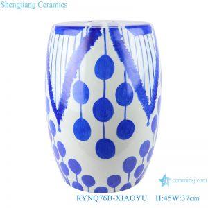 RYNQ76B-XIAOYU Blue circle geometry porcelain stool home use