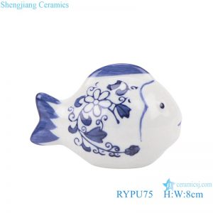 RYPU75 Blue and white sculpture fish porcelain ornament