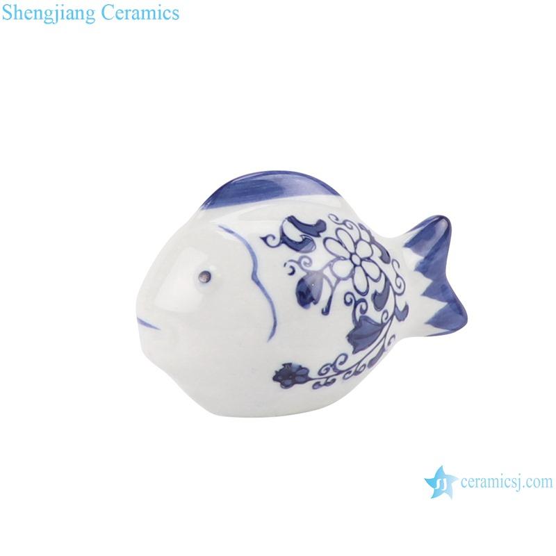 Blue and white sculpture fish porcelain ornament