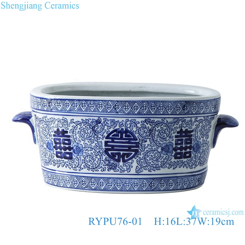 Blue&white flowerpot with oval ears and double happy design