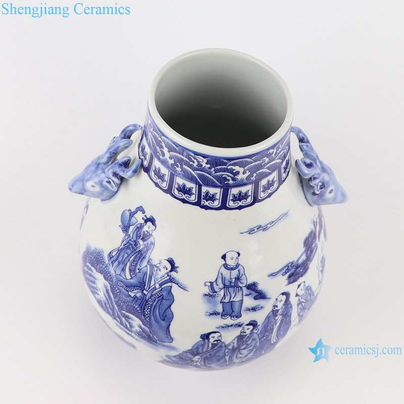 RYUJ21-B Blue and White Porcelain The character Landscape pattern with two Dear head Ceramic Vase