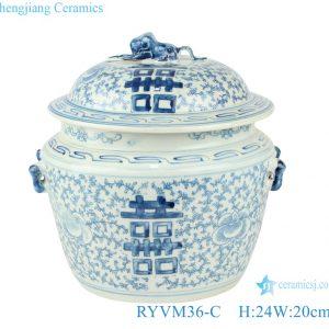 RYVM36-C Blue&white double ear twine branch happy word pattern pots
