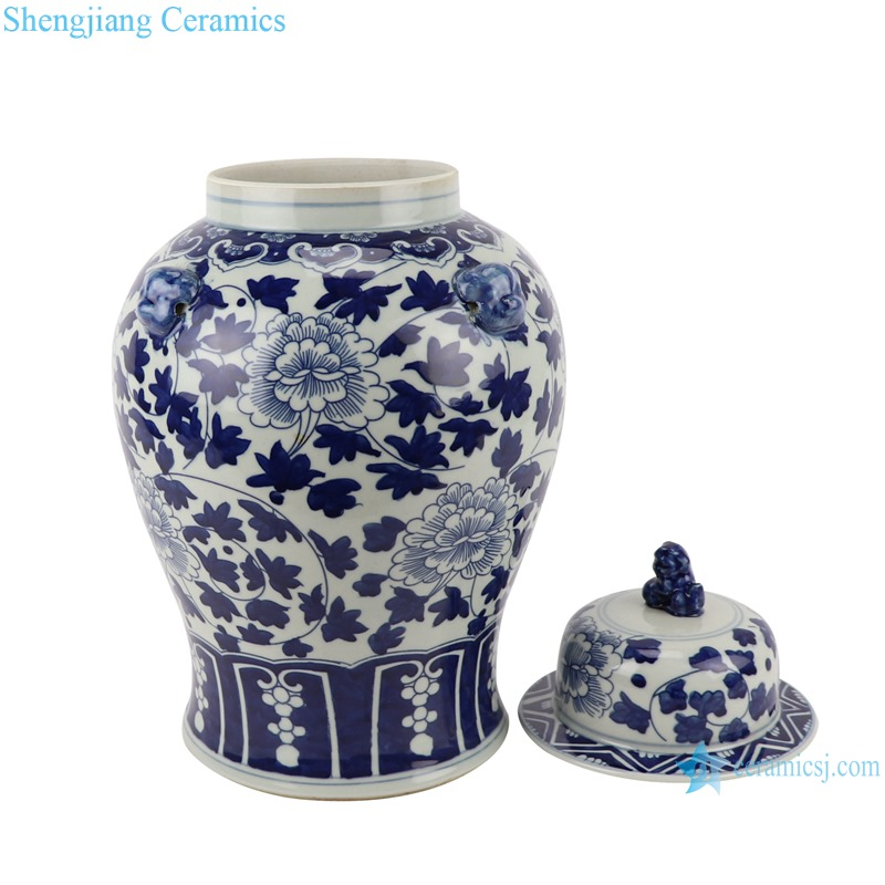 RYWD34-A-B Blue and White Landscape winding peony flower pattern with lion head Porcelain Storage Ginger jars Tank