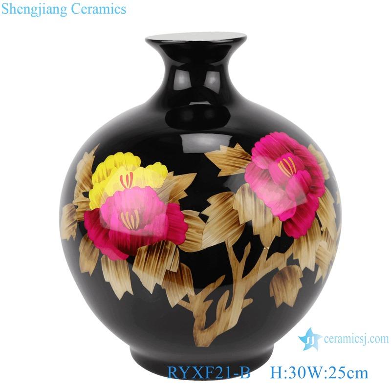 RYXF21 Crystal Glazed blue white yellow black Peony flower Ceramic Vase Pomegranate bottle Shape