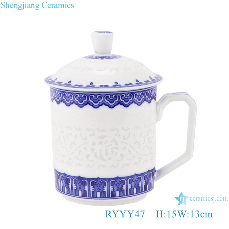RYYY47 Modern Hollow out FU ZI Blessing word Exquisite Blue and White Porcelain White gold trim Tea Cups for home and office