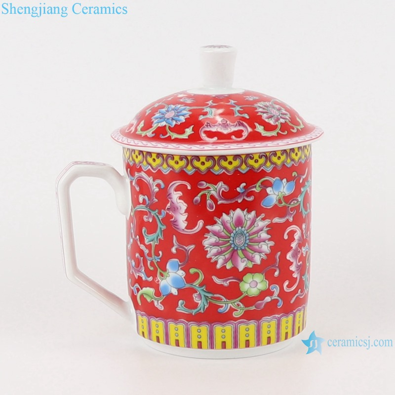 RYYY49-A-B-C-D Glazed Green Red Yellow Winding Flower Teaware Ceramic Tea Cup Espresso Coffee Cup with Cover