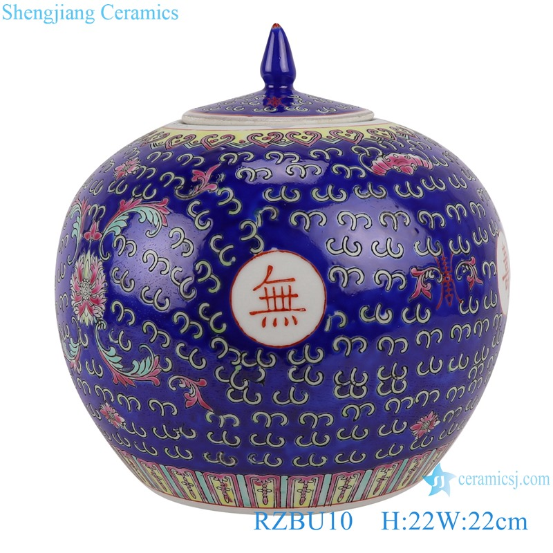"""RZBU10 Chinese letter """"Many happy returns of the day to eternity """" Famille rose Dark blue Watermelon shape Jars storage pot"""