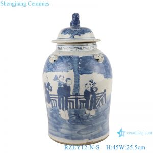 RZEY12-N-S Blue&white antique character design general jar with lid