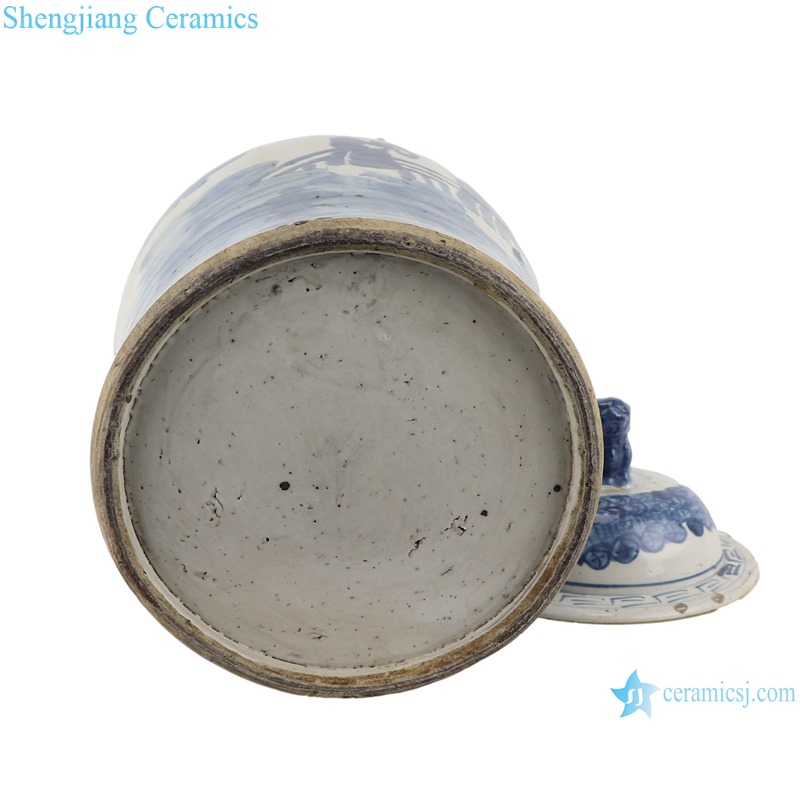 Blue&white antique character design general jar with lid