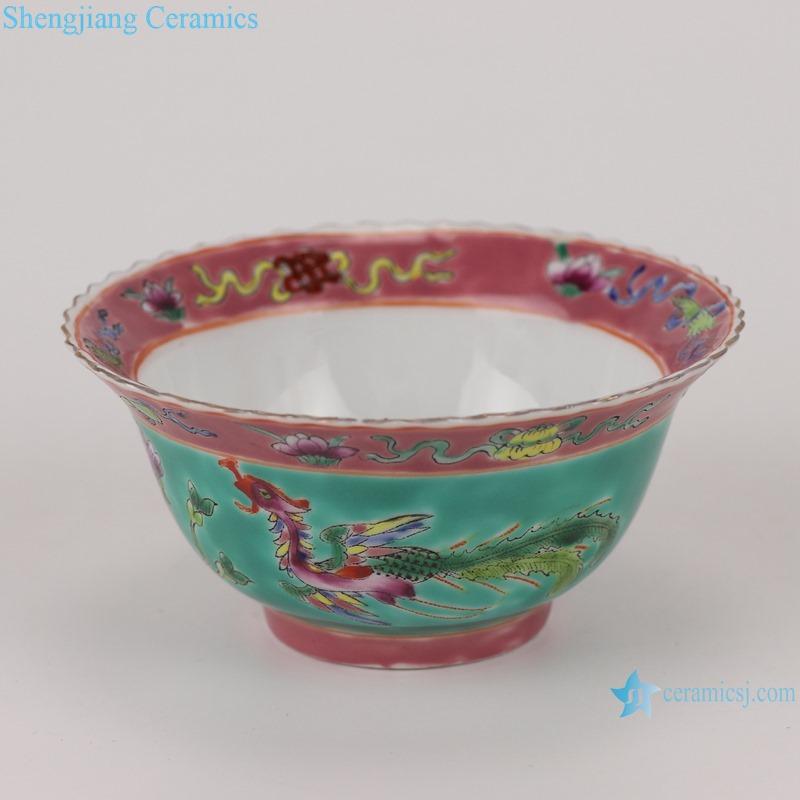 RZFA28 4.5inch Ancient Famille rose phoenix design Green porcelain wide bowl