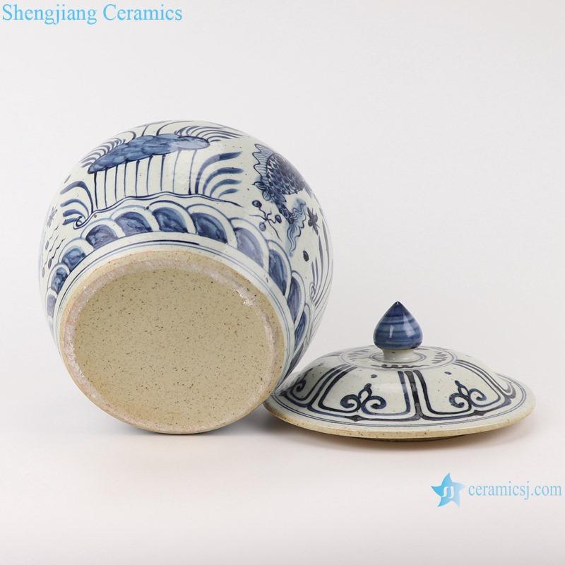 RZFB34-A-B Blue and White Porcelain Landscape Fish and algae Pattern Porcelain Storage Jars Pot
