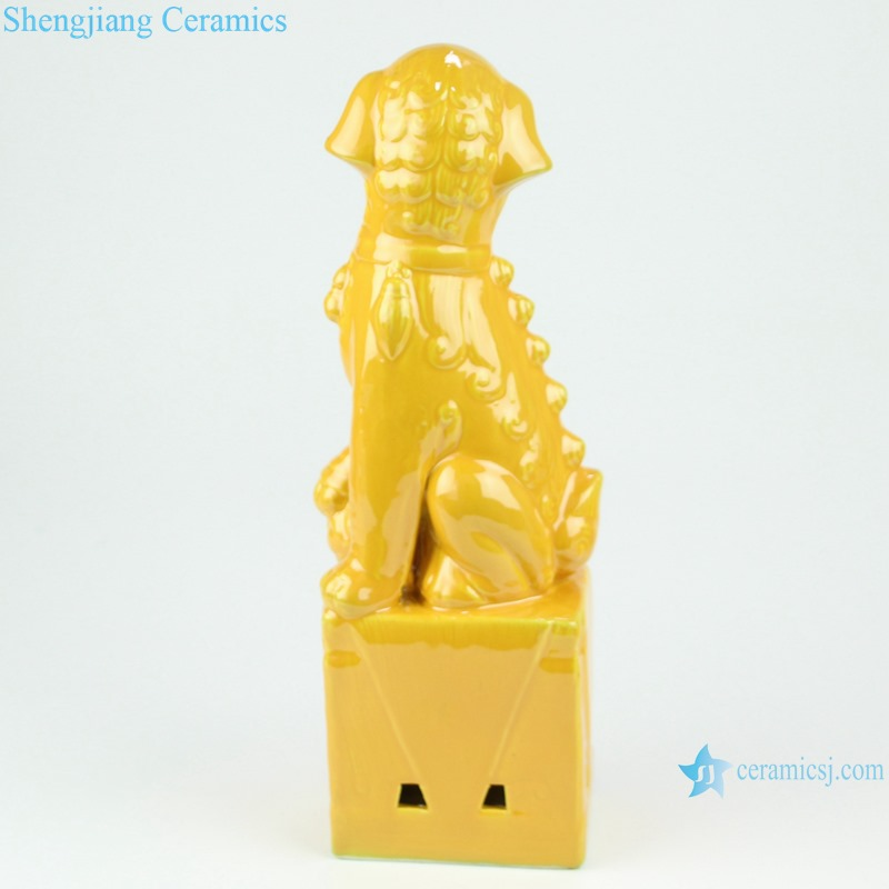 RZGB31 Home Decoration Ceramic Statue Blue yellow silver color glaze pair of foo dog figurine sculptures