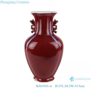 RZGY03-A Color glaze red fish tail shape vase with two ears