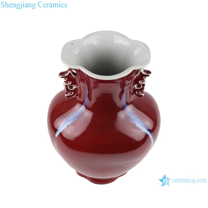 Color glaze red fish tail shape vase with two ears