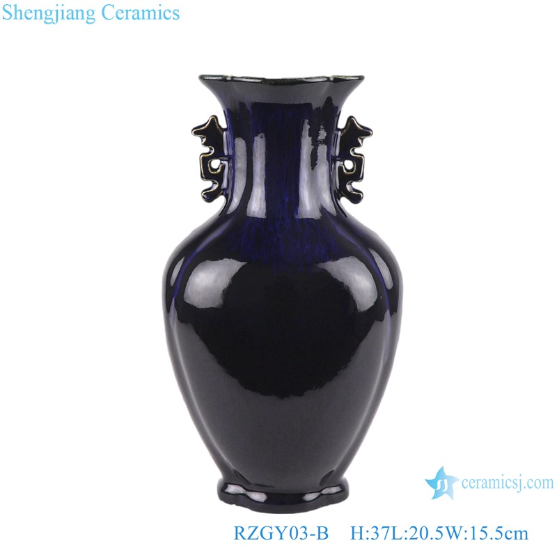 Color glaze black fish tail shape vase with two ears