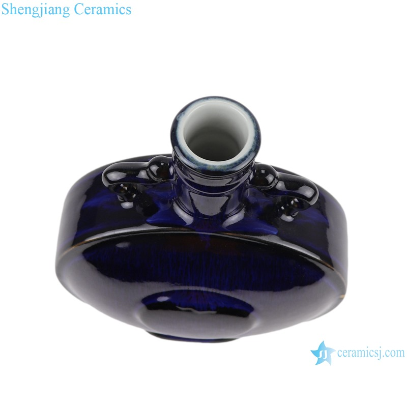 Color glaze black round mouth shape vase