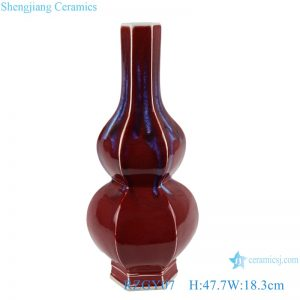 RZGY07 Color glaze kiln red hexagon gourd shape vase
