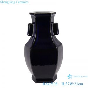 RZGY08 Color glaze black six-sided with two-ear shape porcelain vase
